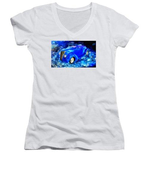 Custom Car  Women's V-Neck T-Shirt (Junior Cut) by Joseph Hollingsworth