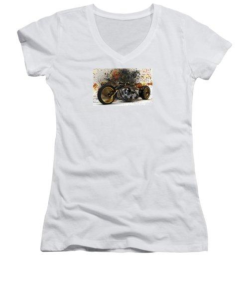 Custom Chopper Gold Women's V-Neck T-Shirt (Junior Cut) by Louis Ferreira