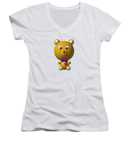 Cute Bear With Bow Tie Women's V-Neck T-Shirt (Junior Cut) by Rose Santuci-Sofranko