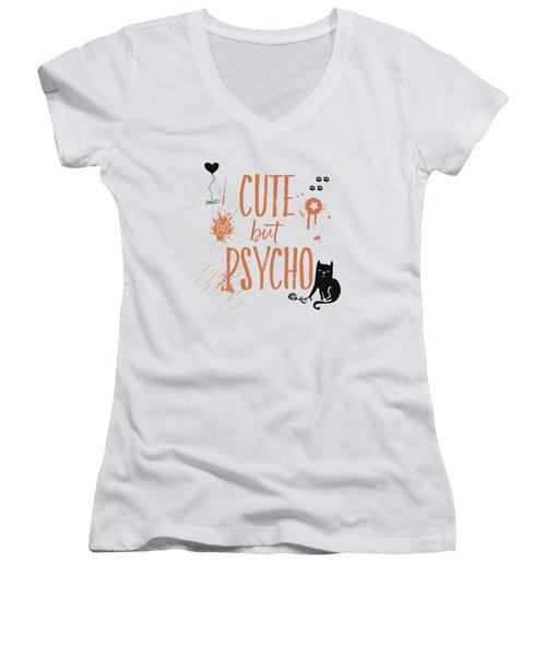 Cute But Psycho Cat Women's V-Neck (Athletic Fit)
