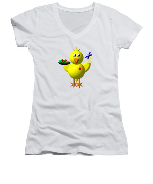 Cute Canary With Salad And Milk Women's V-Neck T-Shirt (Junior Cut) by Rose Santuci-Sofranko