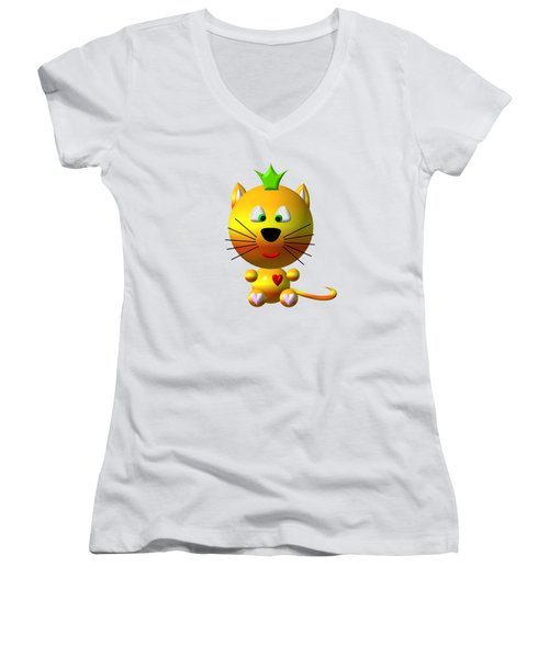 Cute Cat With Crown Women's V-Neck T-Shirt