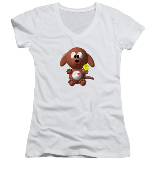 Cute Dog With Dandelion Women's V-Neck (Athletic Fit)