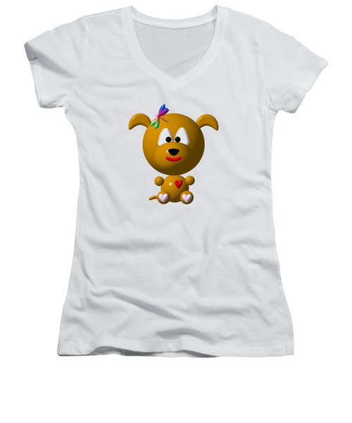 Cute Dog With Dragonfly Women's V-Neck