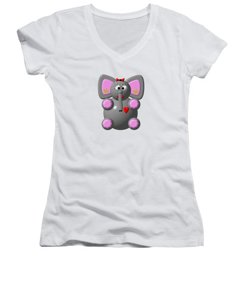 Cute Elephant Wearing Earrings Women's V-Neck T-Shirt (Junior Cut) by Rose Santuci-Sofranko