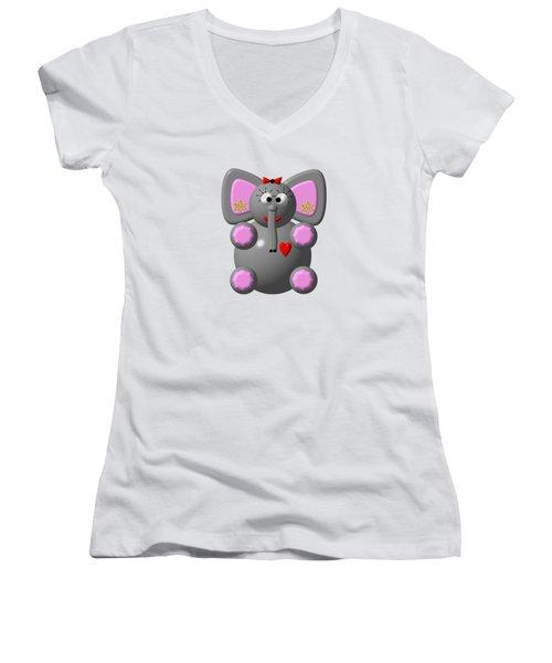 Cute Elephant Wearing Earrings Women's V-Neck T-Shirt