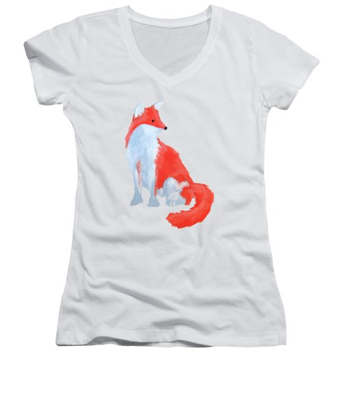 Cute Fox With Fluffy Tail Women's V-Neck