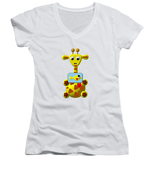 Cute Giraffe With Goldfish Women's V-Neck T-Shirt (Junior Cut) by Rose Santuci-Sofranko