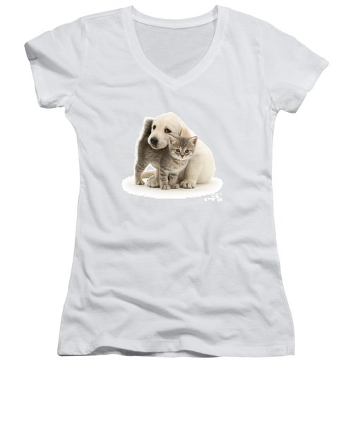 Cute Kitten And Perfect Puppy Women's V-Neck