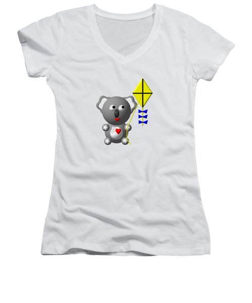 Cute Koala With Kite Women's V-Neck T-Shirt (Junior Cut) by Rose Santuci-Sofranko