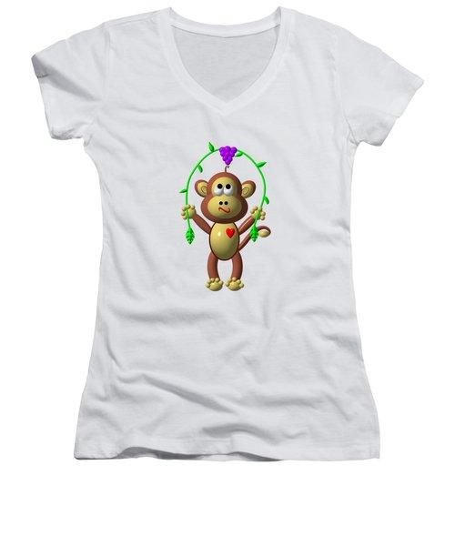 Cute Monkey Jumping Rope Women's V-Neck T-Shirt (Junior Cut) by Rose Santuci-Sofranko