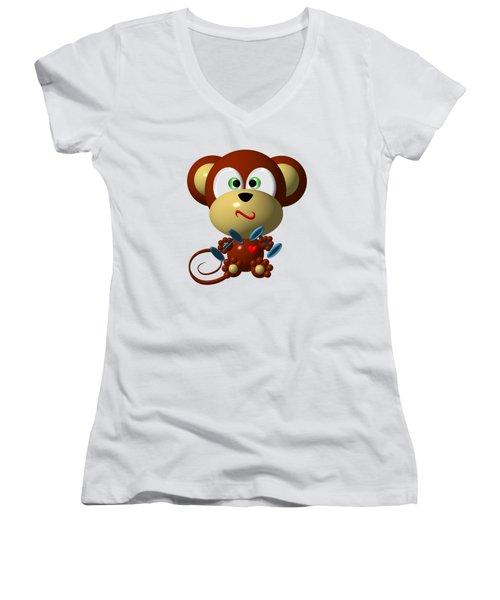 Cute Monkey Lifting Weights Women's V-Neck
