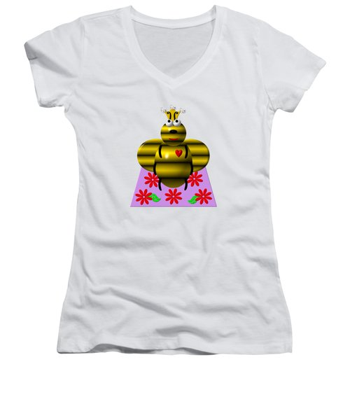 Cute Queen Bee On A Quilt Women's V-Neck T-Shirt (Junior Cut) by Rose Santuci-Sofranko