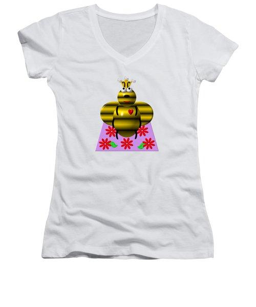 Cute Queen Bee On A Quilt Women's V-Neck T-Shirt