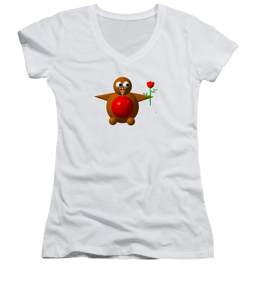 Cute Robin With Rose Women's V-Neck T-Shirt (Junior Cut) by Rose Santuci-Sofranko