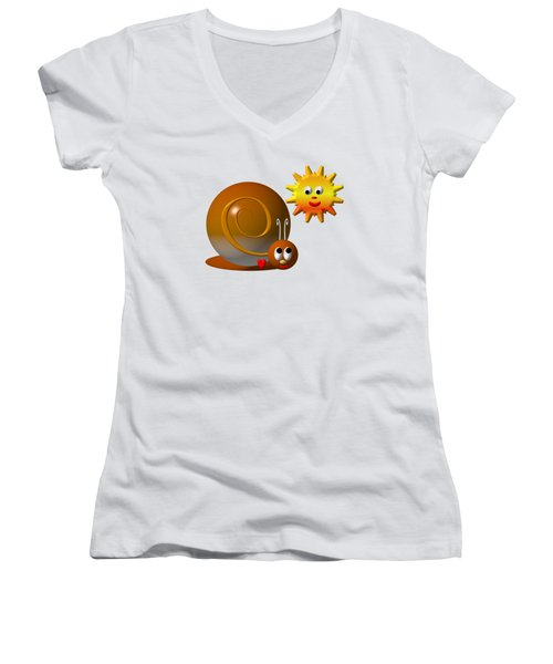 Cute Snail With Smiling Sun Women's V-Neck T-Shirt (Junior Cut) by Rose Santuci-Sofranko