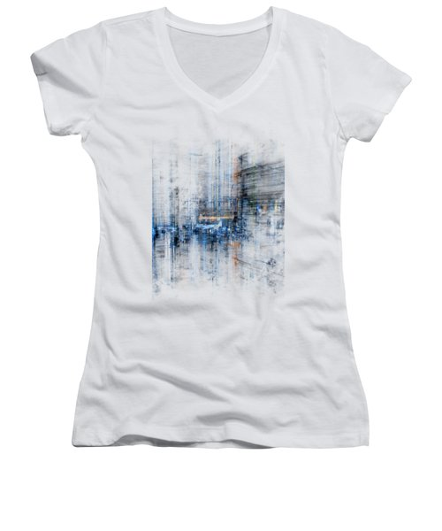 Cyber City Design Women's V-Neck T-Shirt (Junior Cut) by Martin Capek
