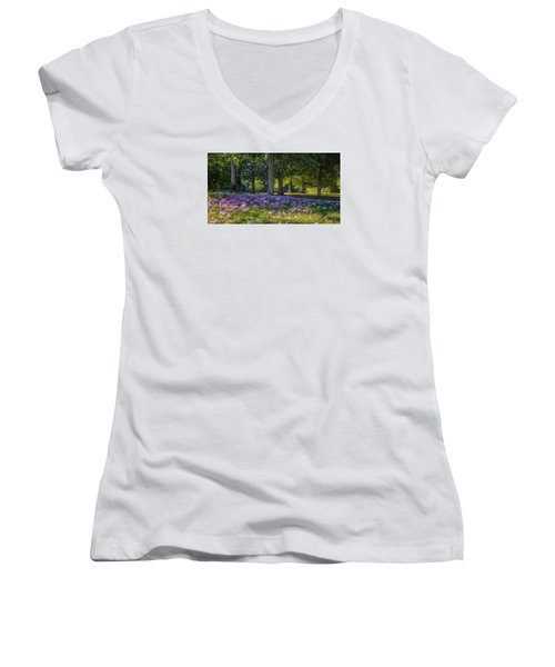 Cyclamen Under Trees Women's V-Neck (Athletic Fit)