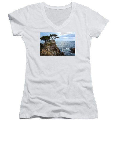 Cypress Tree On The Point Women's V-Neck (Athletic Fit)
