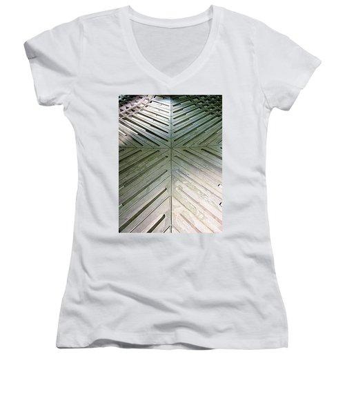 D C Metro 5 Women's V-Neck T-Shirt (Junior Cut) by Randall Weidner