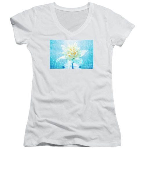Women's V-Neck T-Shirt featuring the photograph Daffodil Flower In Rain. Digital Art by Jorgo Photography - Wall Art Gallery