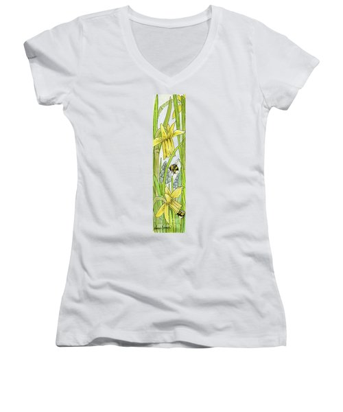Daffodils And Bees Women's V-Neck