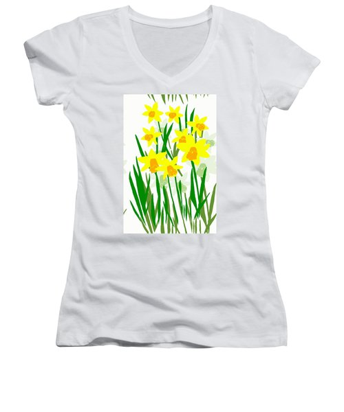 Women's V-Neck T-Shirt (Junior Cut) featuring the digital art Daffodils Drawing by Barbara Moignard