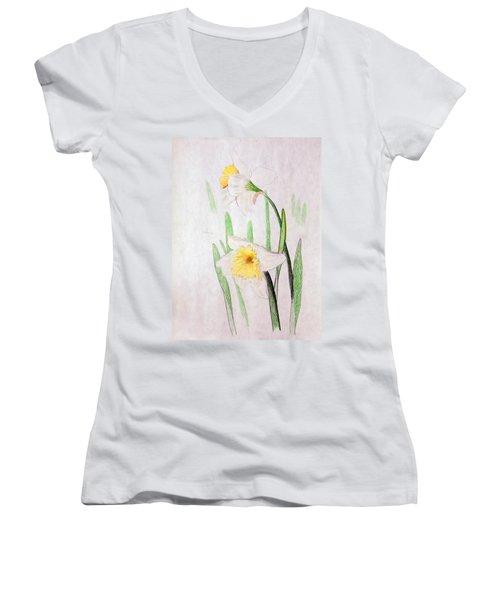 Daffodils Women's V-Neck T-Shirt (Junior Cut) by J R Seymour