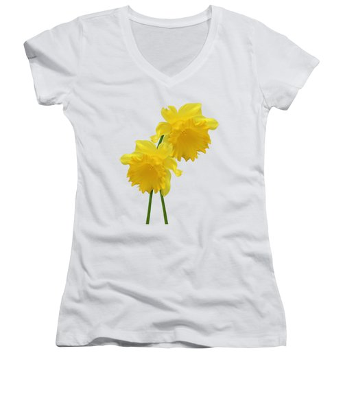 Daffodils On White Women's V-Neck (Athletic Fit)