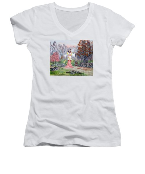 Women's V-Neck T-Shirt (Junior Cut) featuring the painting Dai Yuu by Anthony Lyon
