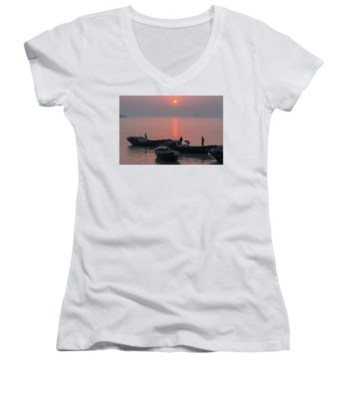 Daily Chores On The River Women's V-Neck (Athletic Fit)
