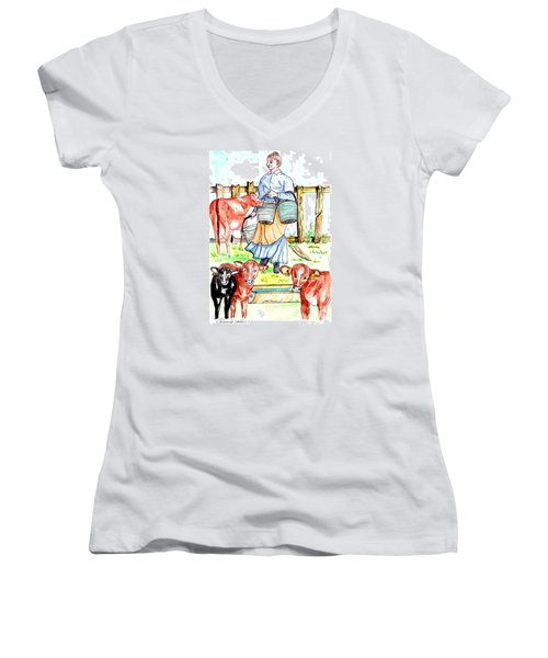 Daily Chores Women's V-Neck T-Shirt (Junior Cut)
