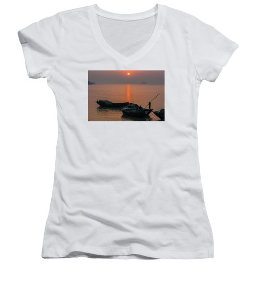 Daily Life Of Boatman Women's V-Neck (Athletic Fit)