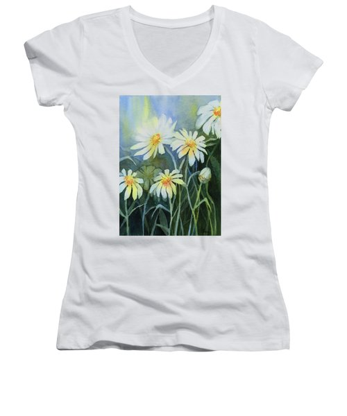 Daisies Flowers  Women's V-Neck (Athletic Fit)