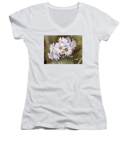 Women's V-Neck T-Shirt featuring the photograph Daisies In Antique Watering Can by Bellesouth Studio