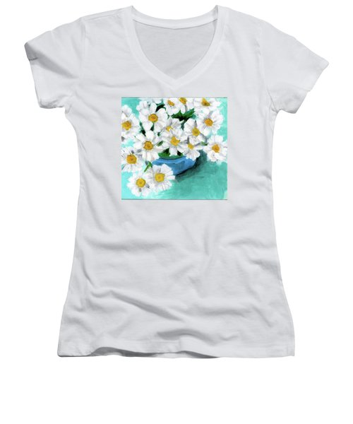 Daisies In Blue Bowl Women's V-Neck
