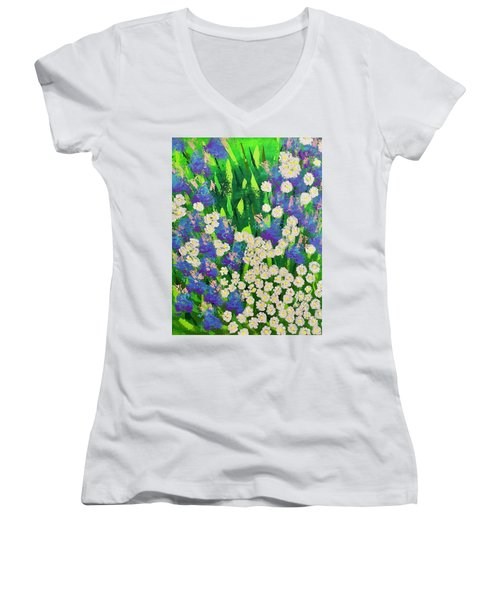 Daisy And Glads Women's V-Neck T-Shirt (Junior Cut) by George Riney