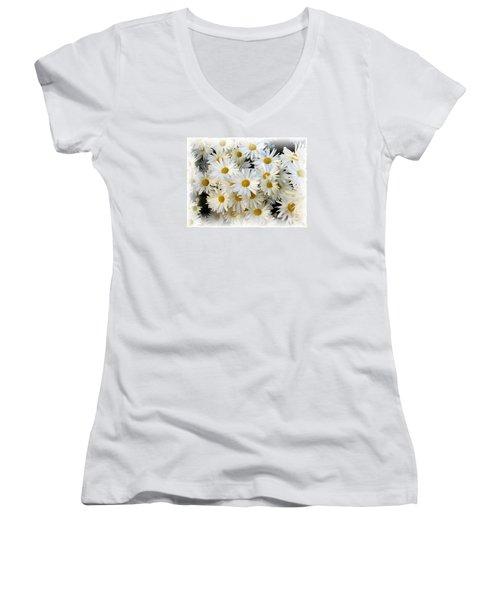 Daisy Bouquet Women's V-Neck T-Shirt (Junior Cut) by Carol Sweetwood