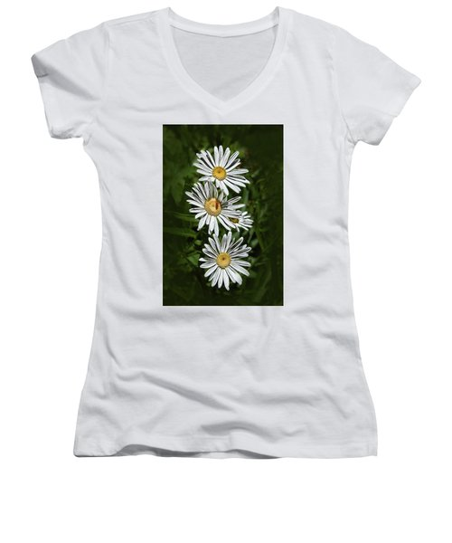Women's V-Neck T-Shirt (Junior Cut) featuring the photograph Daisy Chain by Marie Leslie
