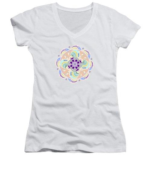 Daisy Lotus Meditation Women's V-Neck T-Shirt (Junior Cut) by Deborah Smith
