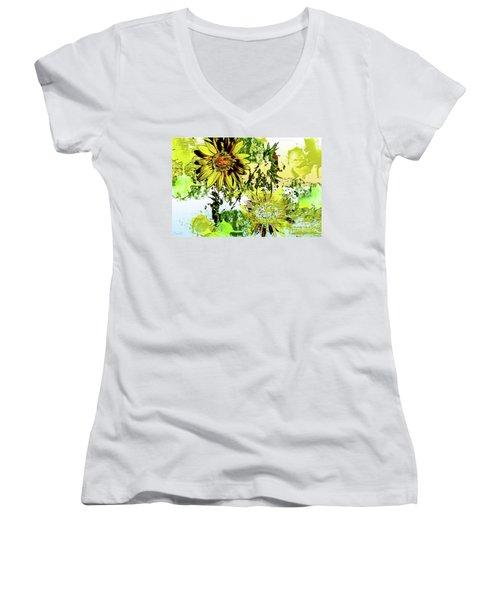 Sunflower On Water Women's V-Neck T-Shirt (Junior Cut) by Deborah Nakano