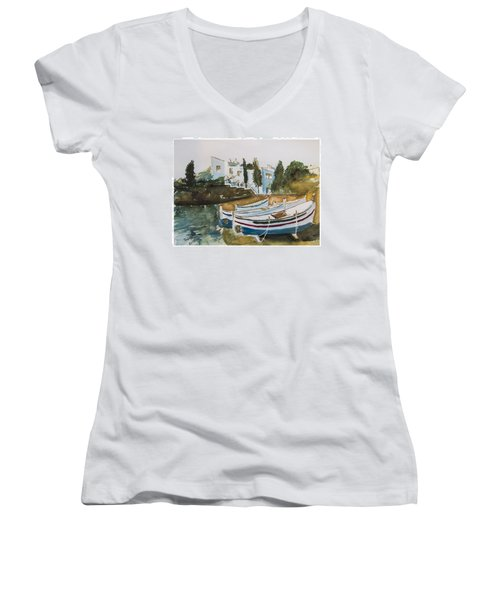 Women's V-Neck T-Shirt (Junior Cut) featuring the painting Dali House From Portlligat by Manuela Constantin