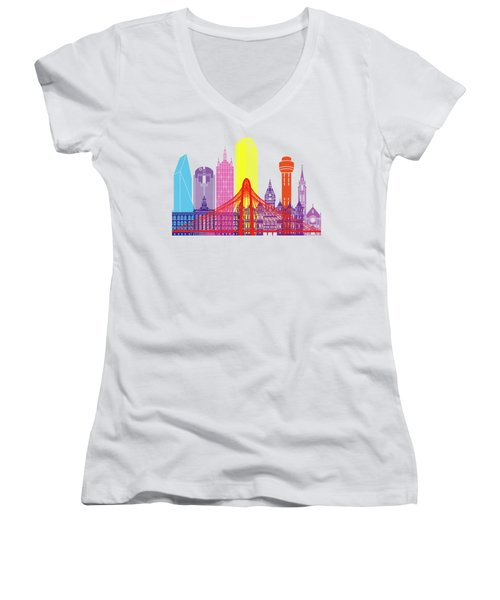 Dallas Skyline Pop Women's V-Neck T-Shirt (Junior Cut) by Pablo Romero