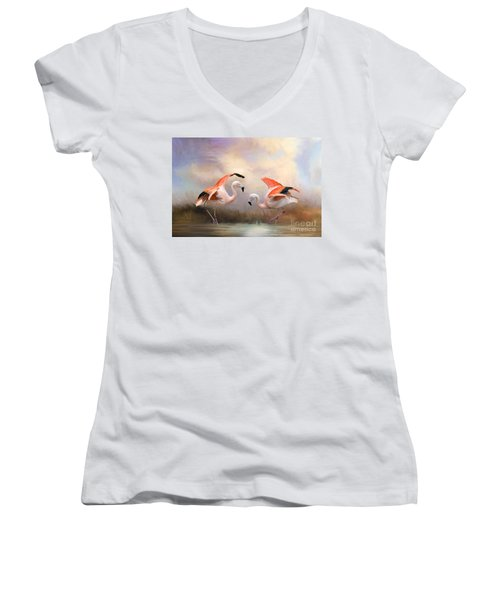 Women's V-Neck T-Shirt (Junior Cut) featuring the photograph Dance Of The Flamingos  by Bonnie Barry