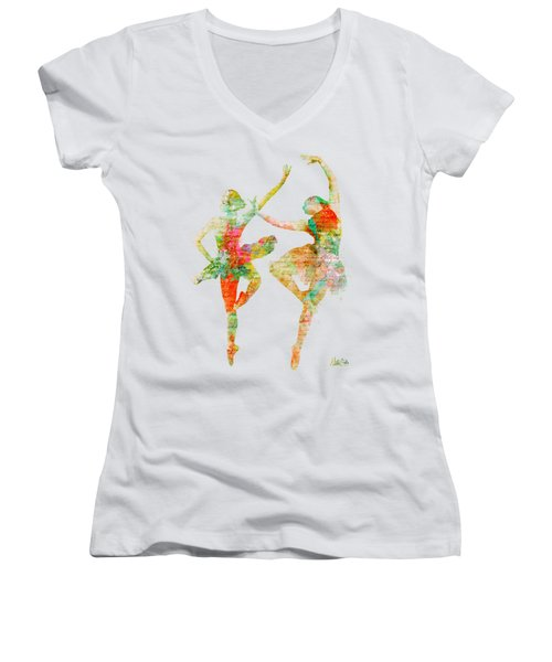 Dance With Me Women's V-Neck T-Shirt (Junior Cut) by Nikki Smith
