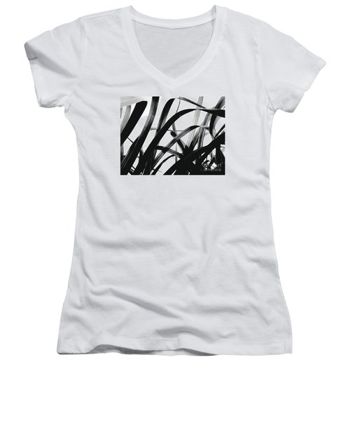 Women's V-Neck T-Shirt (Junior Cut) featuring the photograph Dancing Bamboo Black And White by Rebecca Harman