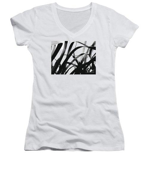 Dancing Bamboo Black And White Women's V-Neck T-Shirt