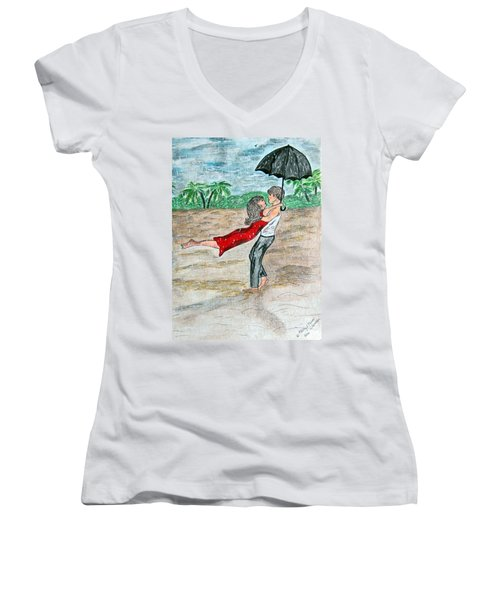 Women's V-Neck T-Shirt (Junior Cut) featuring the painting Dancing In The Rain On The Beach by Kathy Marrs Chandler