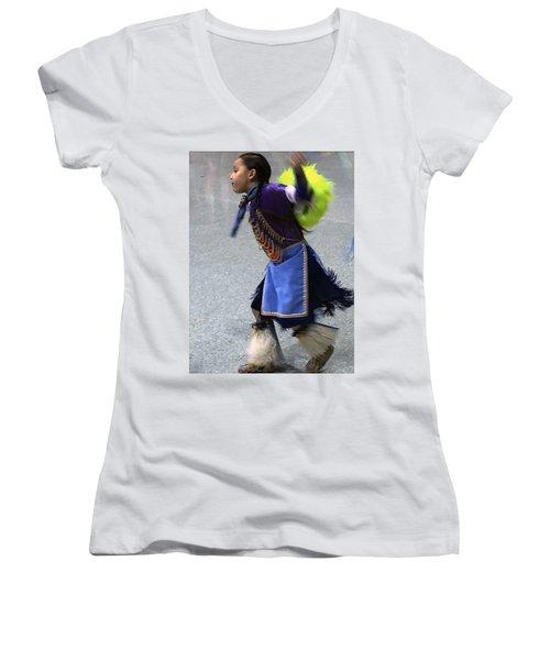 Dancing Native Child Women's V-Neck (Athletic Fit)
