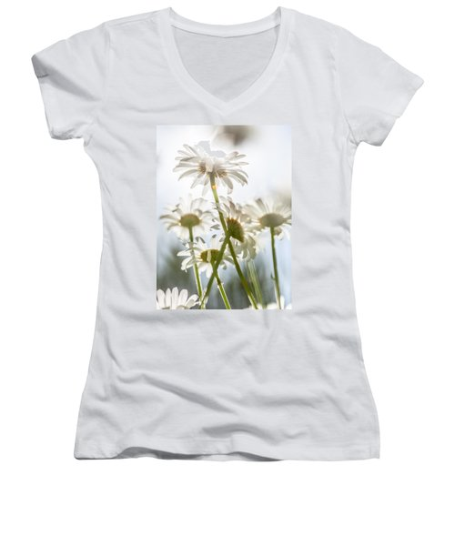 Women's V-Neck T-Shirt (Junior Cut) featuring the photograph Dancing With Daisies by Aaron Aldrich
